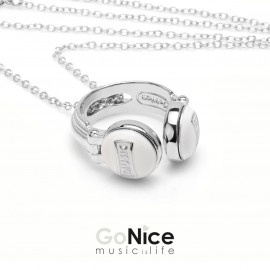 Collana con cuffia MUSICisLIFE Pop bianco in bronzo e patinatura in oro con Catenina