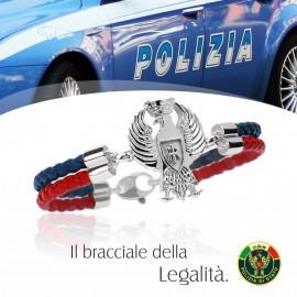 IL BRACCIALE DELLA LEGALITA' DEDICATO ALLA POLIZIA DI STATO, BLU E ROSSO.